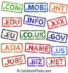 郵票, 橡膠, 域名