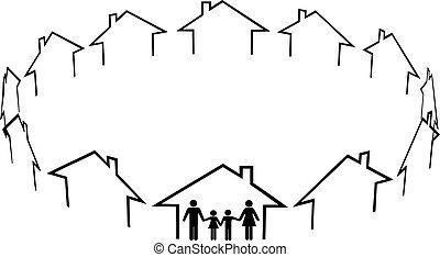 鄰居, 家庭, 社區, 房子, 家, 發現