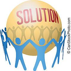 配合, 發現, 加入, 解決, 人們
