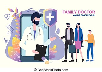 醫生, 婦女, 孩子, 家庭, 在網上, 人, 咨詢