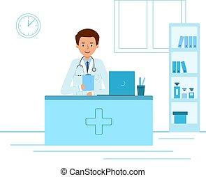 醫生, 臨床醫學家, 辦公室。, 坐, 醫學, 桌子
