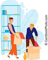 重新搜尋, illustration., 字, 材料, 人, 個人, 朋友, 協助, 房子, 矢量, 白色, 幫助, 男性, 箱子, 卡通, 被隔离, 運載, 移動, belongings.