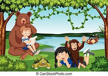 野生動物, 孩子, 場景