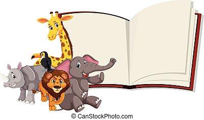 野生動物, 書, 打開, 樣板