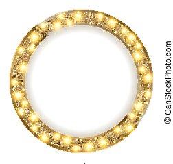 金光, 框架, 光, 背景, 輪