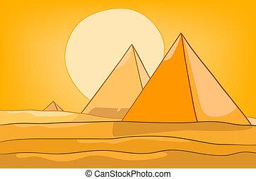 金字塔, 卡通, 風景, 自然