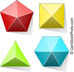 金字塔, 顏色, 被隔离, 背景。, 集合, 白色