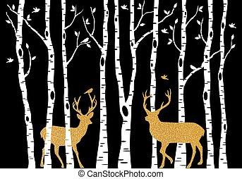 金樹, 鹿, 矢量, 樺樹, 聖誕節