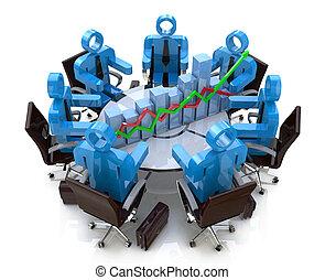 金融, 商業界人士, -, 圖表, 圖形, 桌子, 會議, 輪, 3d