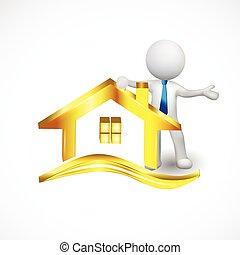 金, 人們, 房子, 小, 標識語, 白色, 3d