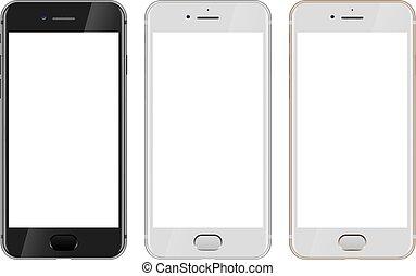 金, 看法, 黑色, 空白, smartphone, 前面, 屏幕, 白色, 現代