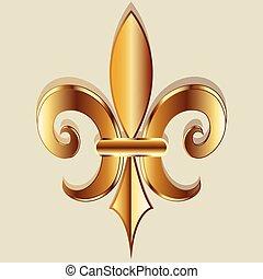 金, 符號, de, fleur, lis, 標識語