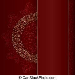 金, 葡萄酒, 圖樣, 背景, 植物, 紅色