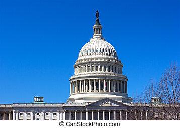 針對, 國家, 藍色, dc, 清楚的天空, 州議會大廈, 上面, 射擊, 部份, usa., 華盛頓, 團結, spring.