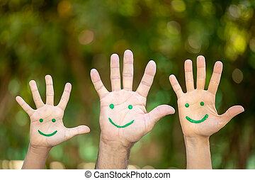 針對, 繪, 笑臉符, 綠色的臉, 手掌, 背景
