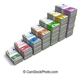 鈔票, 條形圖, 歐元