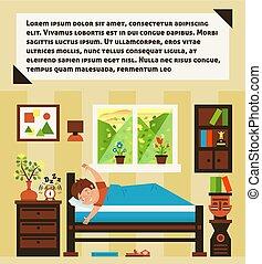 鈴, 心情, 黎明, morning., 向上, 積極, day., 開始, 外面, 風景, 內部, 窗口。, 好, 舒適, room., 插圖, 早, 醒, clock., 警報, 快樂, 矢量