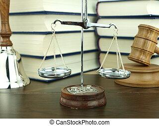 鈴, 正義, 法律, 背景, 木槌, 堆, judge?s, 書, 手, 規模