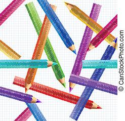 鉛筆, 矢量, pattern., seamless, 插圖