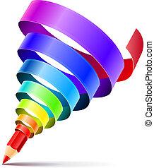 鉛筆, 藝術, 概念, 設計, 創造性