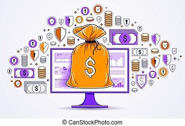 銀行業務, 美元, 袋子, 錢, 圖象, 或者, 儲金, 矢量, 集合, 監控, 錢, design., bookkeeping, 概念, 在上方, 網際網路, 在網上, 電子, 電腦