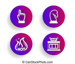 銷售, 戰略, set., 徵候。, 矢量, 按一下, 熱, 圖象, 銷售, 商店, 手
