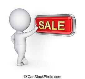 銷售, 推, button., 人, 3d, 小