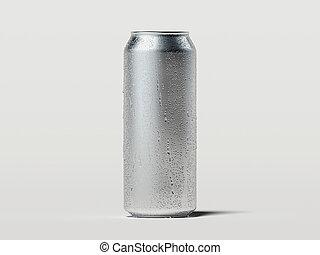 鋁, 小滴, 蘇打, rendering., 被隔离, 啤酒能, 白色, 或者, 3d