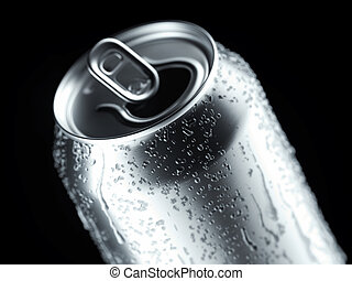 鋁, 小滴, rendering., 啤酒, 背景, 黑色, 罐頭, 蘇打, 或者, 3d