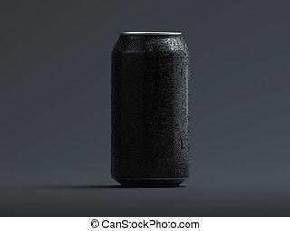 鋁, 小滴, rendering., 啤酒, 被隔离, 灰色, 罐頭, 蘇打, 或者, 3d