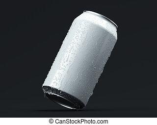 鋁, 小滴, rendering., 被隔离, 啤酒能, 蘇打, 黑色, 或者, 3d
