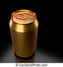 鋁, 蘇打, 背景。, 啤酒, 或者, 金, 罐頭, 黑色, 被隔离