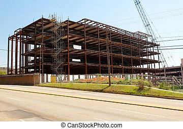 鋼, 建築物, 城市, 框架, 站點, 建設
