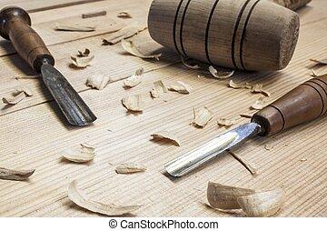 錘子, 鑿子, 工具, 桌子, 背景, 木匠, 木頭