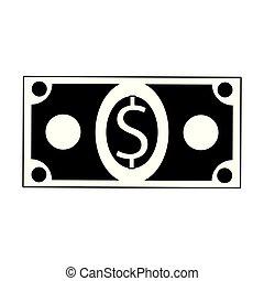 錢符號, 現金, 被隔离, 黑色, 白色, 卡通