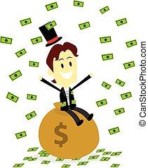 錢, 做, 它, 雨, 富有, 人