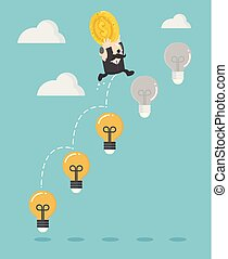 錢, 梯子, 向上, 老板, 商人, 燈泡, 投資