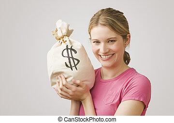 錢, 藏品, 婦女, 袋子