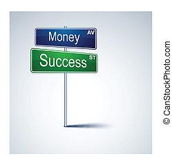 錢, 路, 方向, 徵候。, 成功