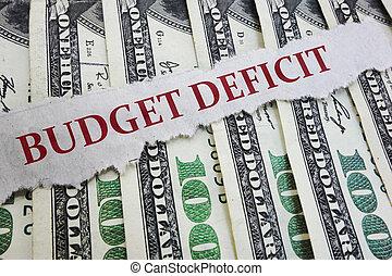 錢, 預算, 報紙, 赤字, 標題