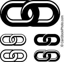 鏈子, 一起, 符號, 矢量, 黑色, 白色