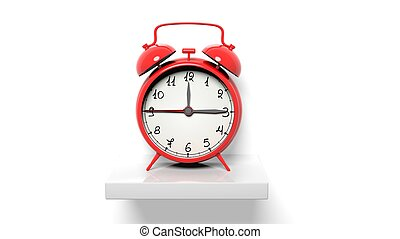 鐘, 牆, 架子, 警報, retro, 白色紅