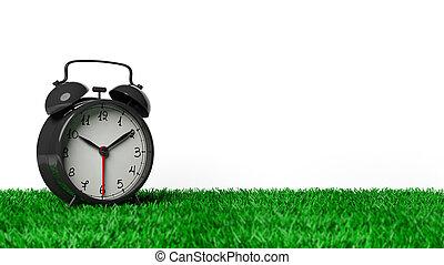 鐘, 警報, 被隔离, 草, 背景。, 黑色, retro, 白色