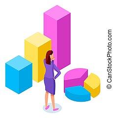 長方形, 站立, 婦女, 圖表, 圖形, 垂直, 包括, 酒吧, 矢量, 顏色, 餅