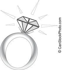 閃閃發光, 戒指, 鑽石