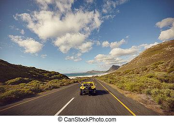 開車, 夫婦, 年輕, 下來, 打開, 興奮, 路