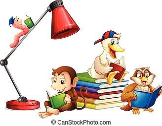 閱讀, 動物, 書, 被隔离