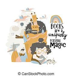閱讀, 女孩, 仙女, 漂亮, 作夢, 故事