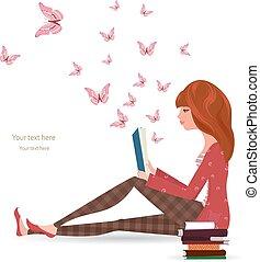 閱讀, 女孩, 書, 漂亮