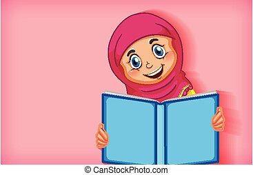 閱讀, 女孩, 書, 穆斯林